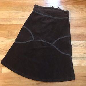 Anthropologie Fei brown corduroy a-line skirt